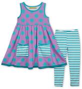 Millie Loves Lily Girls' Casual Dresses - Purple & Turquoise Scaled Dot Pocket A-Line Dress & Stripe Leggings - Toddler & Girls
