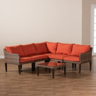 Latitude Run Congers 6 Piece Rattan Complete Patio Set with Cushions Cushion Color: Orange, Frame Color: Brown