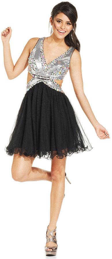 Blondie Nites Juniors' Sequin Cutout Dress