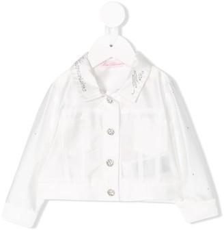 Miss Blumarine Crystal Logo Collar Jacket