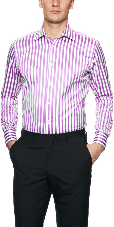 Duchamp Bolt Stripe Dress Shirt