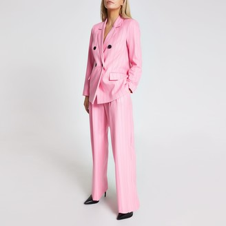 River Island Womens Petite Pink stripe belted wide leg trousers