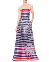 Carolina Herrera Striped Floral Devore Ball Gown, Navy/Red/Pink