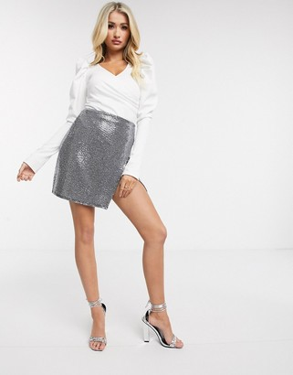 Flounce London wrap front bodysuit with statement sleeve in white