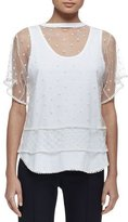 Chloé Short-Sleeve Embroidered-Overlay Tee, Optic White