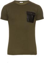 Tomas Maier Faux-leather patch cotton T-shirt
