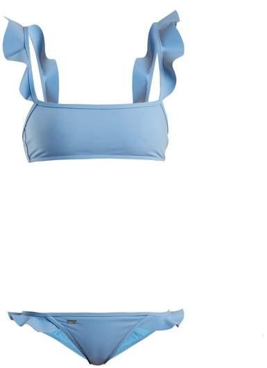 Fendi Ruffled Bonded Bikini - Womens - Light Blue