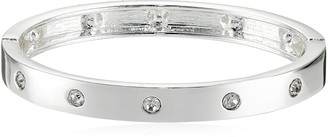 GUESS Narrow Hinge with Crystal Silver Bangle Bracelet