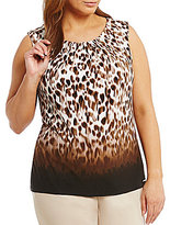 Calvin Klein Plus Ombre Animal Print Pleat Neck Shell
