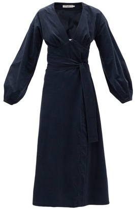 Three Graces London Nancy V-neck Fine-corduroy Midi Dress - Navy