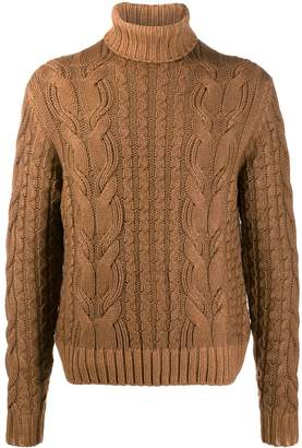 Cruciani turtle neck cable knit jumper