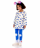 White & Blue Apple Top & Leggings - Toddler & Girls