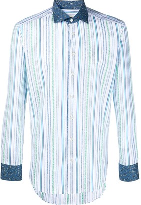 Etro Striped Contrasting-Collar Shirt