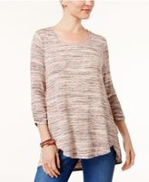 Style&Co. Style & Co Space-Dye Ruched-Sleeve Top, Created for Macy's