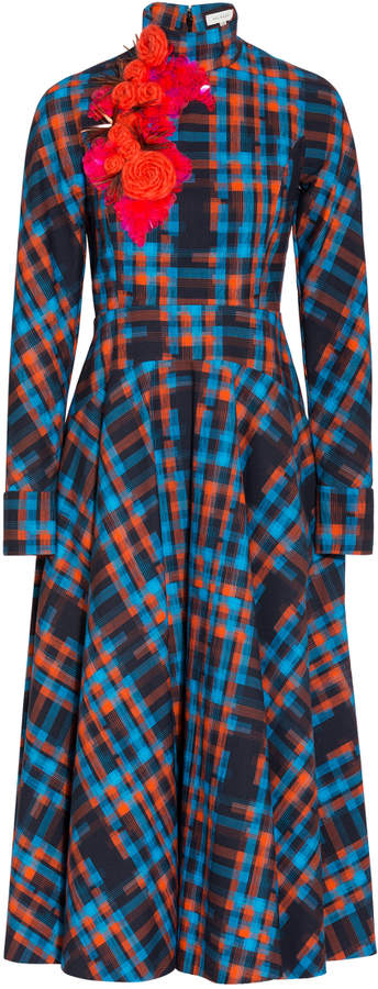 DELPOZO Long Sleeve Checkered Dress