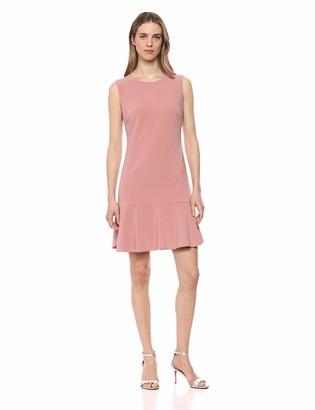 Lark & Ro Amazon Brand Women's Sleeveless Crew Neck Ruffle Hem Shift Dress