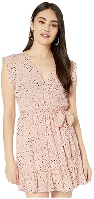 BB Dakota Confetti Printed Crinkle Rayon Wrap Dress (Rosewater) Women's Dress