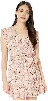 BB Dakota Confetti Printed Crinkle Rayon Wrap Dress (Rosewater) Women's Dress