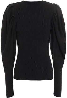 Oscar de la Renta Gathered Ribbed Wool Sweater