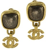 Chanel 97A CC Logo Brown Stone Earrings
