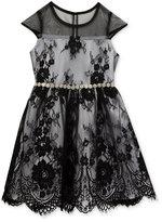 Rare Editions Black Lace Layered Dress, Big Girls (7-16)