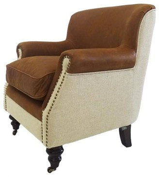 Searles Mils Club Chair Leather/linen