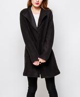 Black Wool-Blend Spread-Collar Car Coat