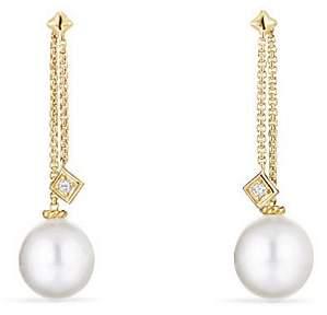 David Yurman Solari Drop Ear Jackets in 18K Gold with Diamonds and Cultured South Sea Pearl