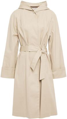 Maje Giselle Belted Cotton-gabardine Hooded Coat