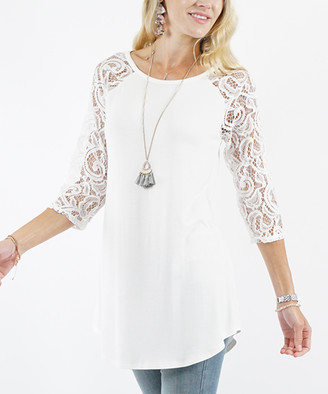 Lydiane Women's Tunics IVORY - Ivory Round-Neck Lace-Sleeve Top - Women