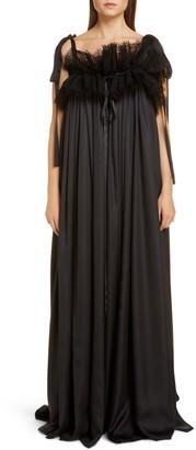 Balenciaga Ruffle Neck Satin Evening Gown