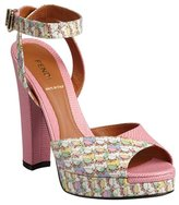 Fendi pink pebbled leather and printed patent ankle strap sandals