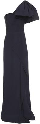 Roland Mouret One-shoulder Bow-embellished Silk-seersucker Gown