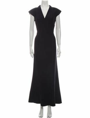 Alexander McQueen V-Neck Long Dress Blue