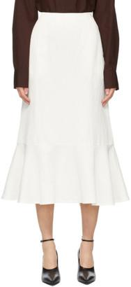 Jil Sander White Satin Flared Skirt