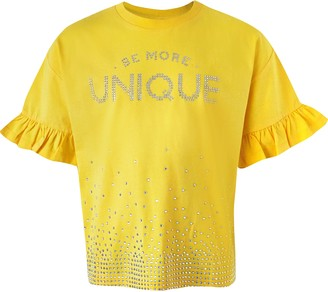 River Island Girls Yellow 'Unique' diamante T-shirt