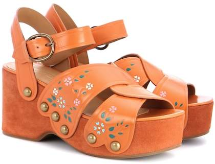 Marc Jacobs Wildflower leather wedge sandals