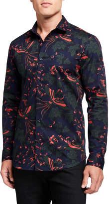 Scotch & Soda Men's Graphic Jacquard Slim-Fit Sport Shirt