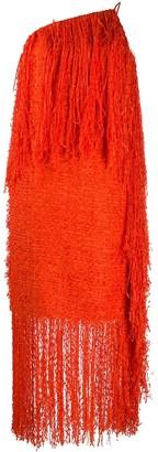 MSGM Fringe-Trimmed Boucle Dress