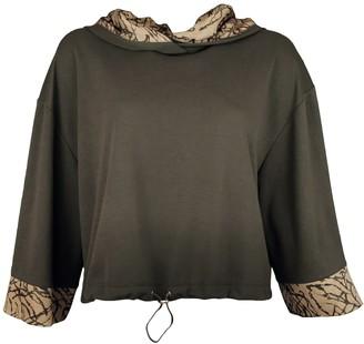 Lalipop Design Knitted Khaki Hoodie Sweatshirt