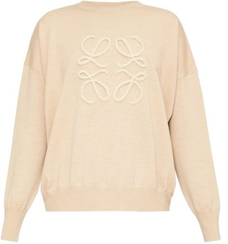 Loewe Anagram-applique Wool-blend Sweater - Camel