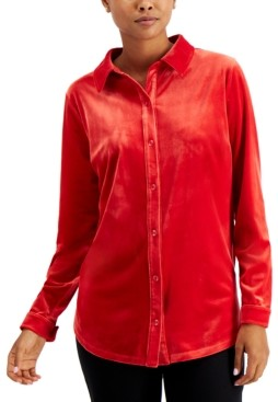 Charter Club Velour Button-Down Shirt, Created for Macy's