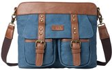 La Cle LA-035 Canvas Rivet Crossbody Satchel Bag Unisex Multi Pockets