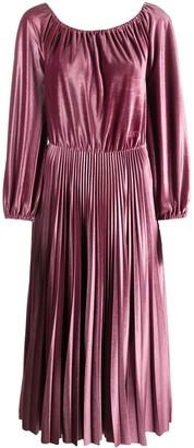 Valentino Pleated Velvet Midi Dress