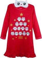 Rene Rofe Girl's Holiday Owl Nightgown and Sleep Mask Set, XL