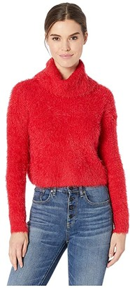 BB Dakota Bat Your Lashes Rib Stitched Eyelash Sweater (Cherry Red) Women's Sweater