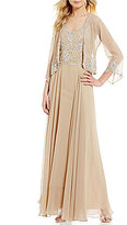 J Kara V-Neck 3/4 Sleeve Beaded Chiffon Jacket Dress