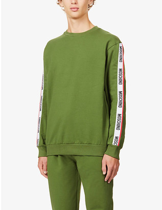 Moschino Branded-tape cotton-blend sweatshirt
