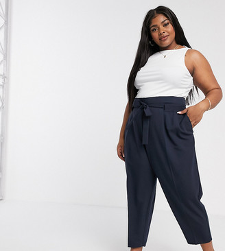 Asos DESIGN Curve tailored tie waist tapered ankle grazer pants