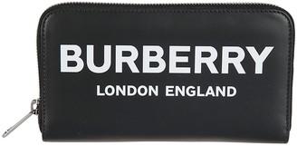 Burberry Logo Print Zip Around Wallet